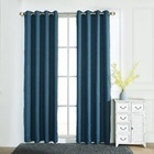 Denim Blue Plain linen textured blackout curtain custom made eyelet curtains