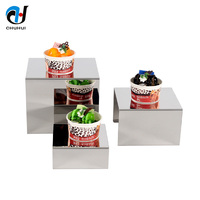 Buffet Stainless Steel Catering Cake Dessert Display Rack Restaurant Glass Decorative Rectangular 4 Tiered Food Stand