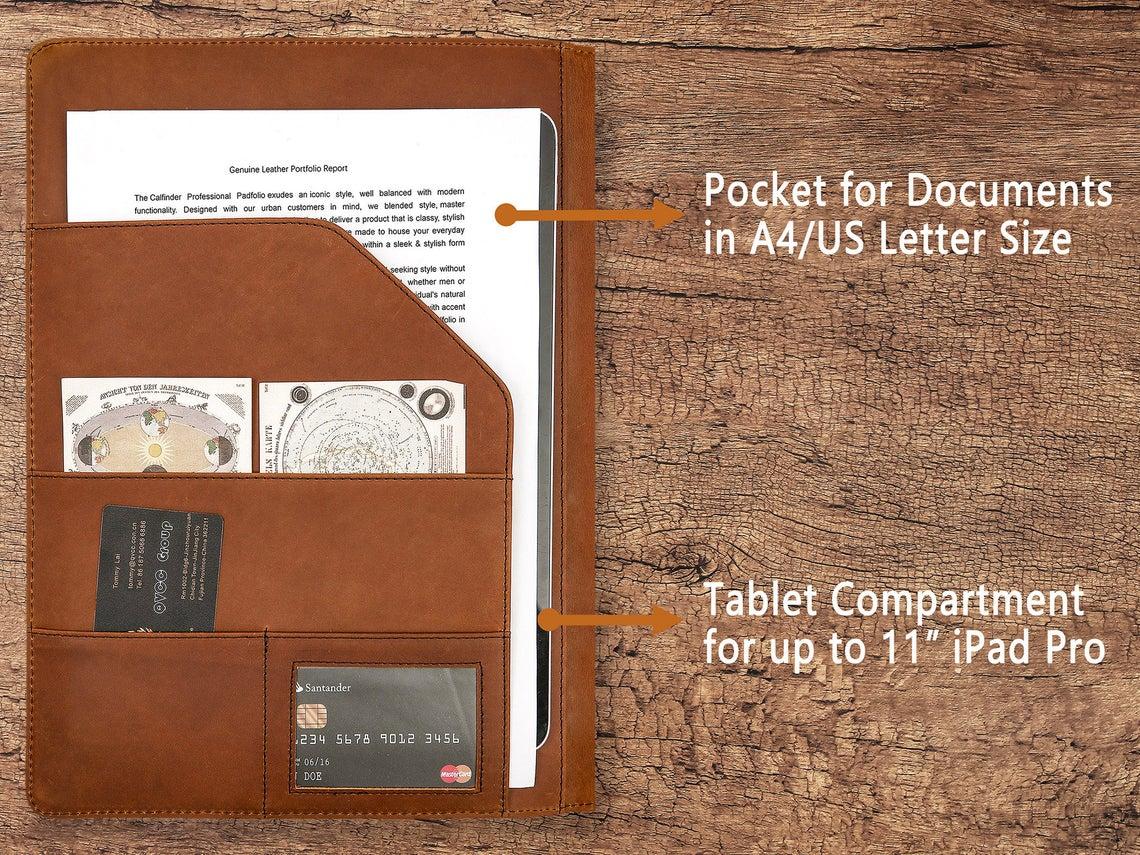 Vintage Leather Clipboard Portfolio, Letter Size/A4 Document Padfolio Organizer, Business Resume Presentation Folder for Men