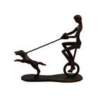Cast arts and craft bronze Ride the dog for a walk sculptures ornaments for home decoration