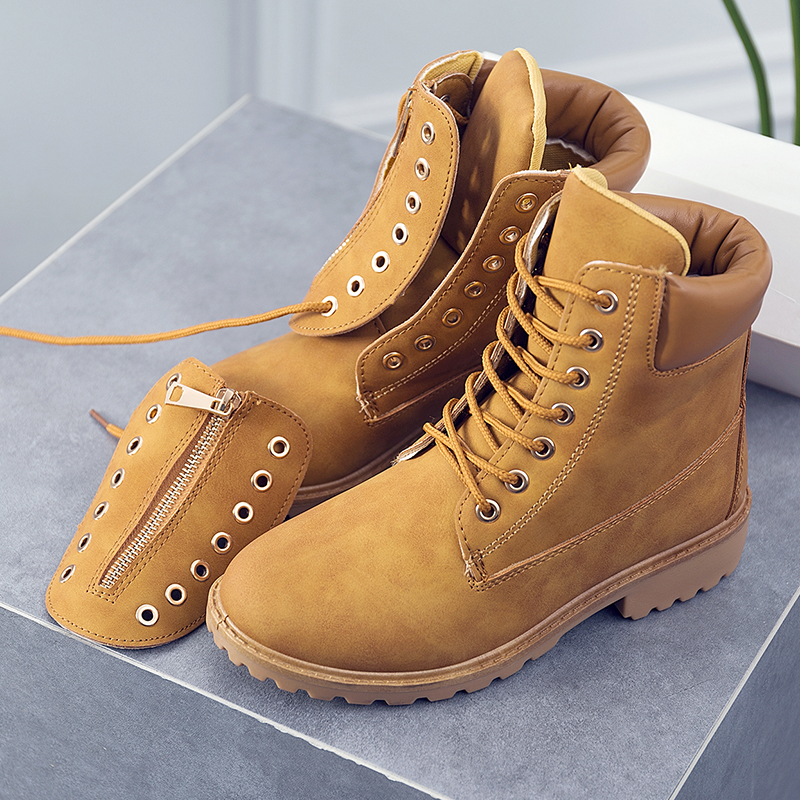 2019 fashion winter non leather boots women shoes flat ankle matin boots ladies