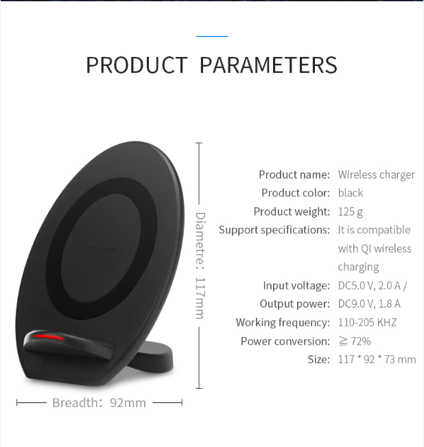 10W 9V1.67A 5V2A QI vertical stand portable fast charging Wireless charger pad for samsung