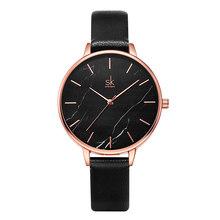 Shengke 2020 новые часы женские мраморные трещины впечатляющий Циферблат серый кожаный ремешок Quart часы Zegarek Damski японские кварцевые часы(China)