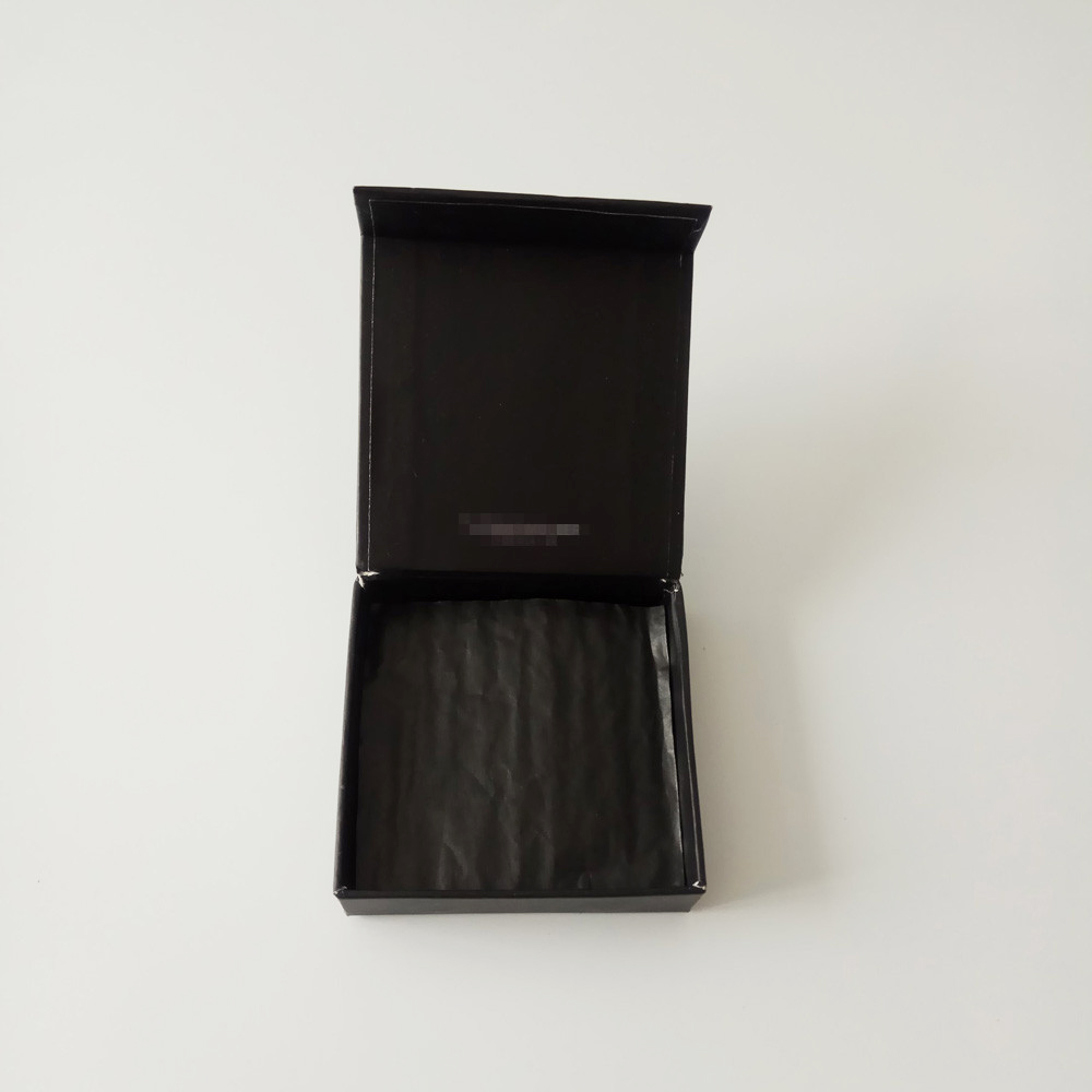 Eco Friendly High End Wedding Black Paperboard Chocolate Gift Box with Tissue Paper