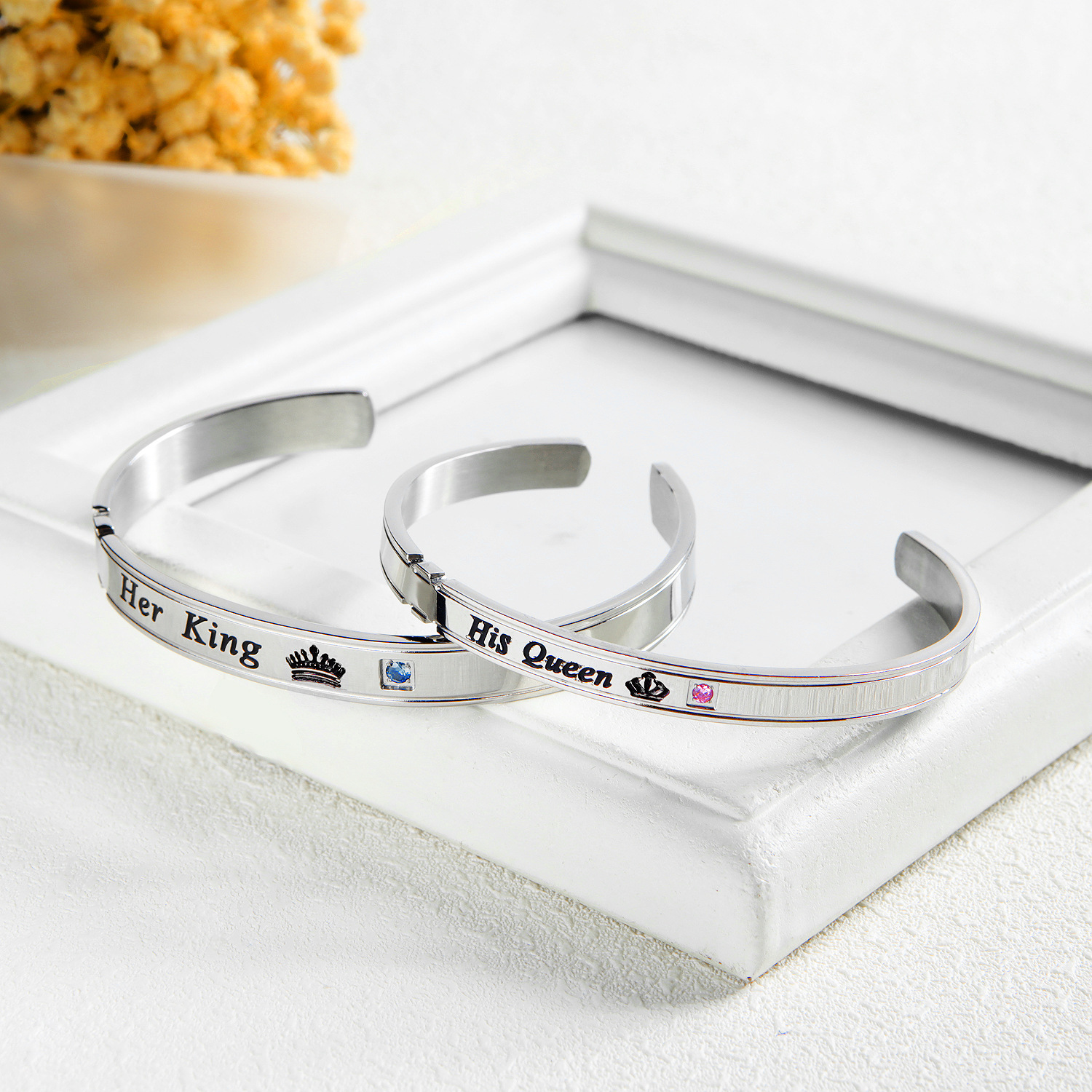 Fashion Stainless Steel Couple Bangle Lettering Colorful Zircon Crown Shaped Chain Link Bracelets For Couple