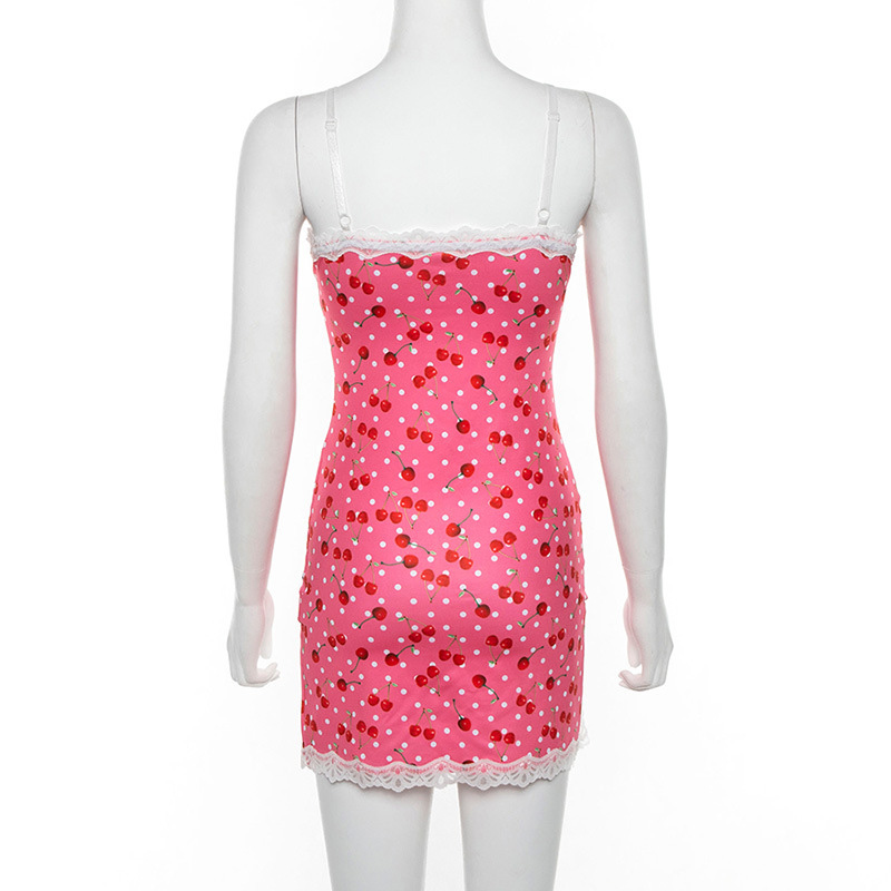 Women lace up cherry dot print slip slit cute girl pink vestidos sleeveless v-neck bodycon femme short mini dress