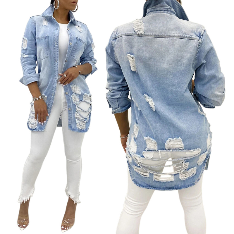 Fashion Ripped <strong>Holes</strong> Long Women Denim Jacket Coats Streetwear Long Sleeve Autumn Spring Casual Oversized Outwear Tops