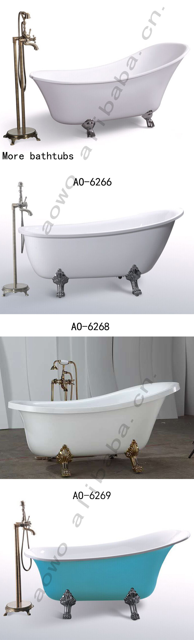 high quality classic freestanding bathtub with claw foot european style hotel home bathroom soaking bathtub AO-6267