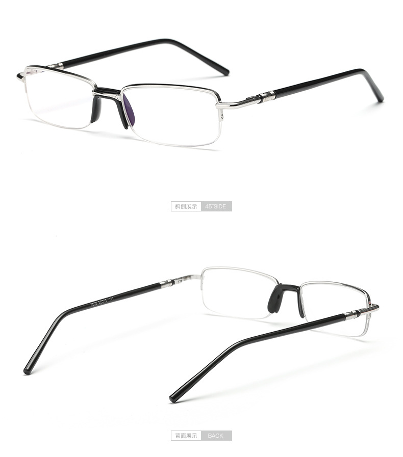 Korean fashion metal half frame reading glasses Men and women middle-aged glasses classic frame glasses mirror