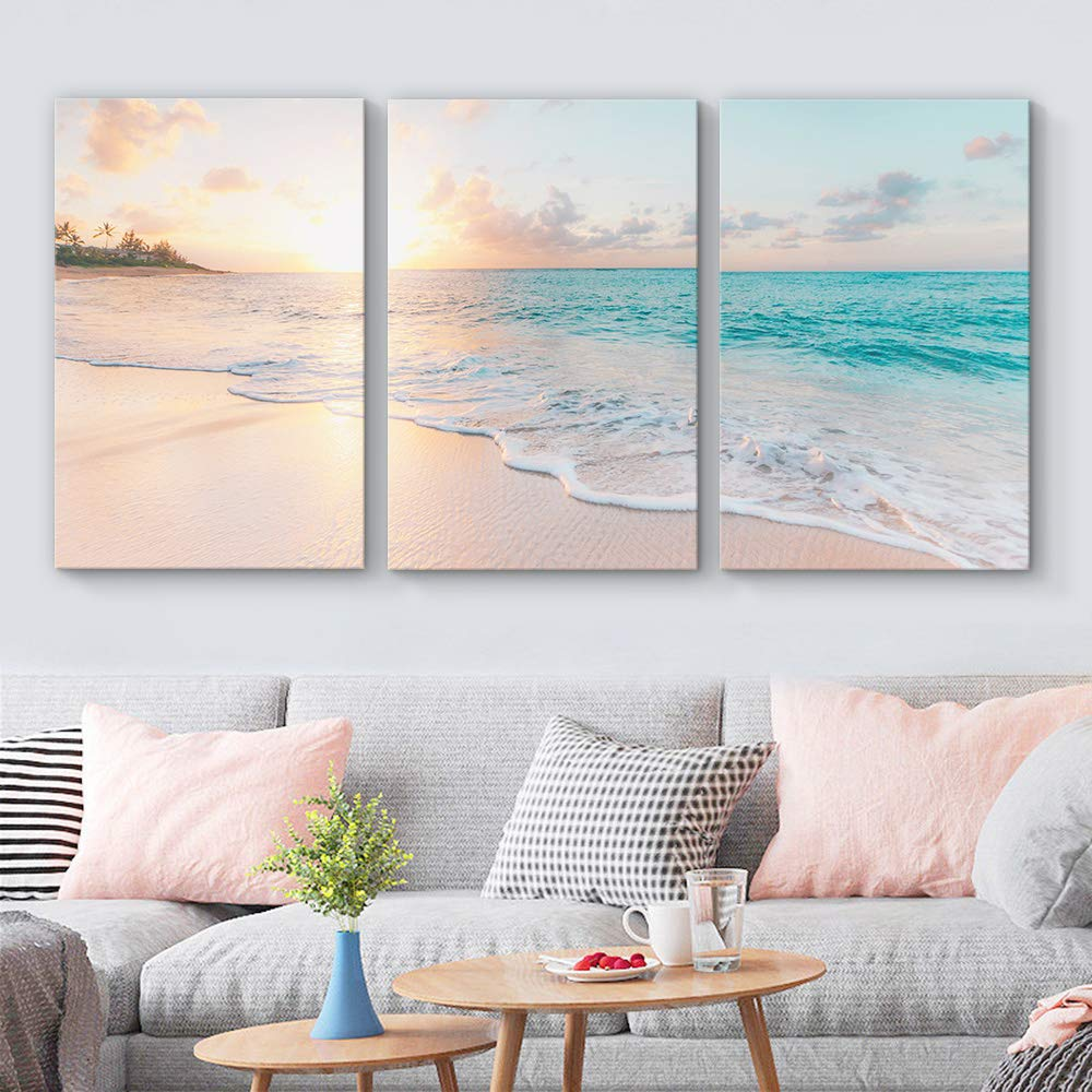 3 Panel Wall Art Seascape and Sunset Painting  Print Art on Canvas For Hotel/Home/Office/Bar/ Decor