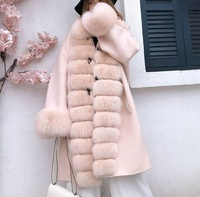 2019 new winter lady long overcoat real fox fur handmade woolen jacket fur trimming shawl double side cashmere cape wool coat