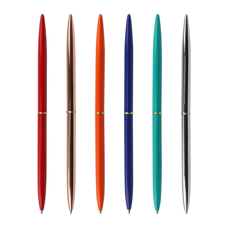 Office Stationery Cheap Promotional Rose Gold Slim Cross Metal Twist Ballpoint Pen Hotel Custom Logo Desk Pens