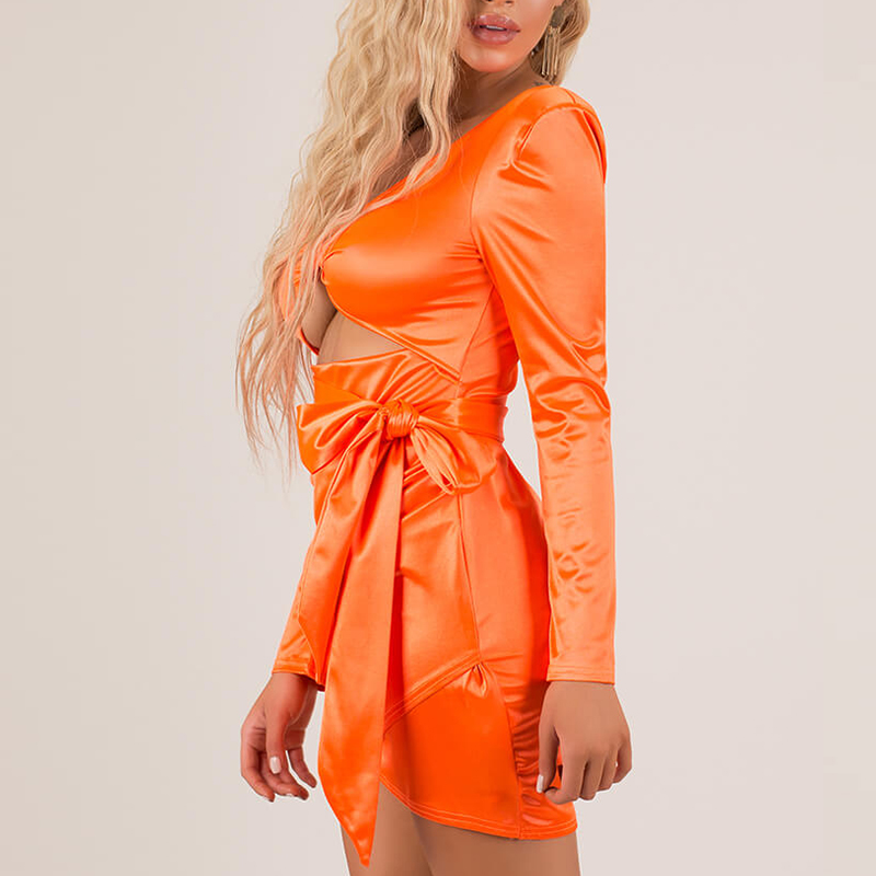 sexy long sleeve satin women wrap cut out mini dress night out club dresses