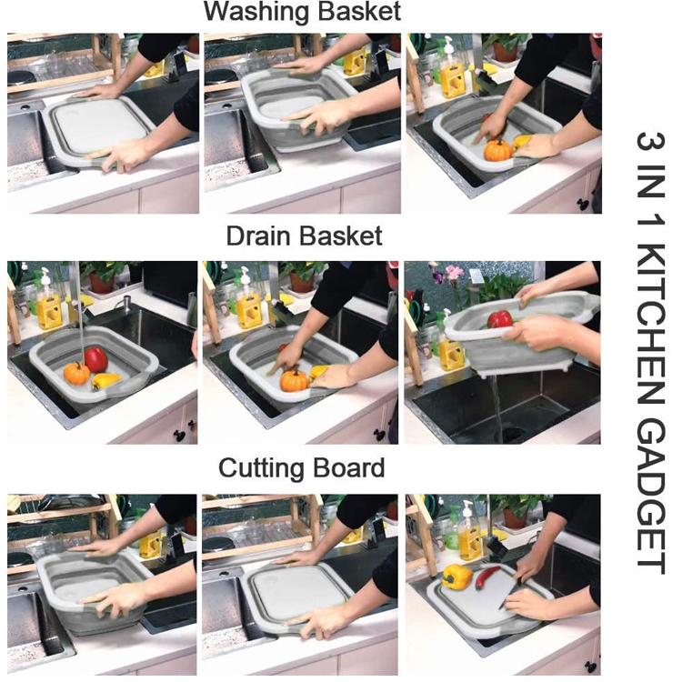 Beeman 2020 3-in-1 Collapsible Foldable Kitchen Silicone Cutting Chopping Board With Dish Tub