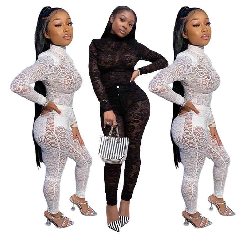 hot sale wholesale black white See-through <strong>lace</strong> two-piece sexy nightclub set <strong>women</strong> <strong>clothing</strong>