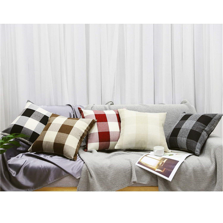 [2-Pack] Checkered Throw Pillow Cover Cushion Cover Home Decor 18 x 18 Inch