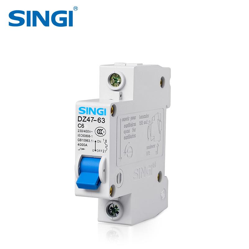 SINGI Brand DZ47-63 1P 6A/10A/16A/20A/25A/32A/40A/50A/63A DC 230V Circuit breaker MCB