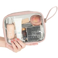 2020 New Custom Logo Small PU Transparent Makeup Pouch Bag Ziplock Clear Travel Cosmetic Bag