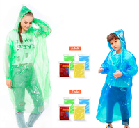 Rain Ponchos Family Pack - Emergency Raincoat Drawstring Hood Poncho for Children and Adults Lightweight Disposable
