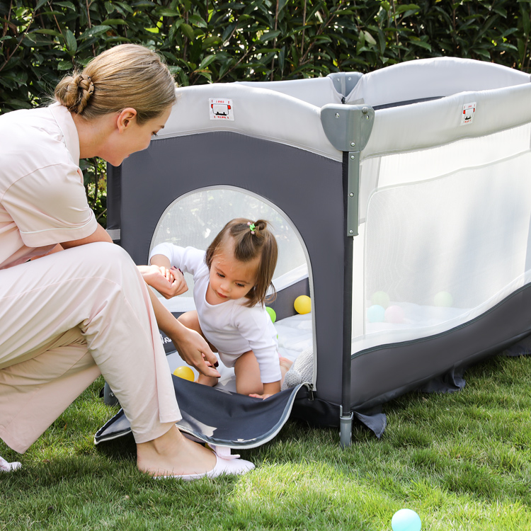 Portable Foldable Square Safe Baby Care Playard Playpen Mesh Plastic Bedside Sleeper Travel Bed Crib