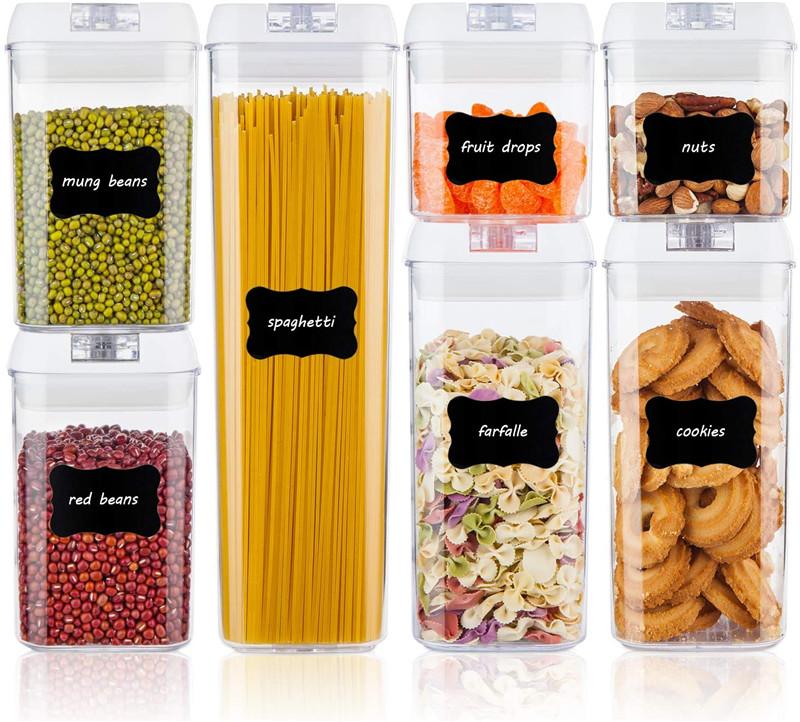인기있는 맞춤형 친환경 7 조각 세트 밀폐 플라스틱 건조 식품 저장 용기