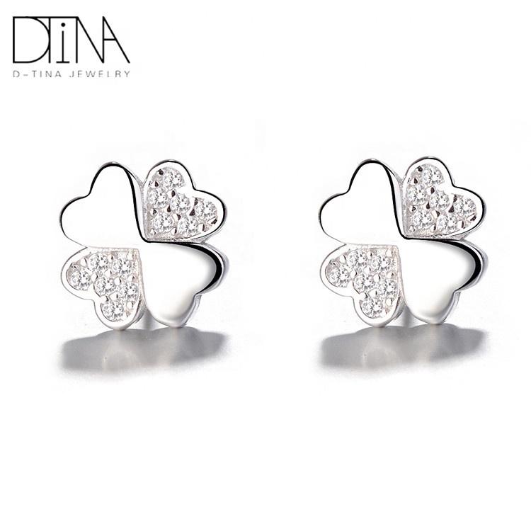DTINA 925 silver 2019 new bow earrings four-leaf clover shape earrings girls gift