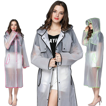 Transparent Rain Coat Women Long Raincoat Plus Size Hooded Impermeable Trench Coat Motorcycle Rain Cover Camping Hiking Poncho