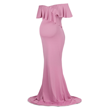 New design fashion pink Maternity dress with ruffle sleeve for wedding