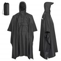 Polyester coated PU Unisex rain poncho for sale