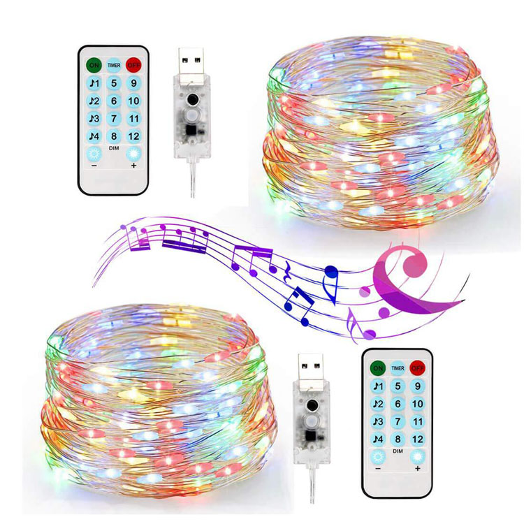 Amazon Hot Sale Remote 8 Mode USB Music Light String Music Sound Control Copper Wire String Lights Festival Atmosphere Lights