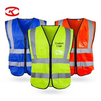 Waist Adjustable Mesh High Visibility Custom Logo Printing Reflect Warning Yellow Safety Reflective Vest With Pockets