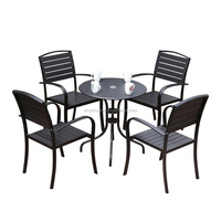 Hot selling outdoor garden aluminium plastic wood backyard dining furniture chair