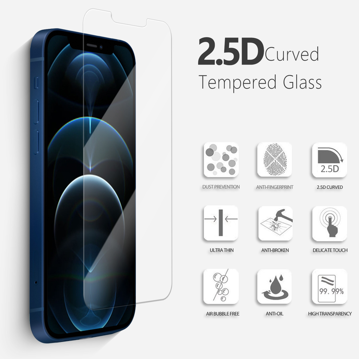 For iPhone 12/11 Pro Max 2.5D 9h hardness anti shock screen protector wholesale price screen cover tempered glass for iPhone 12