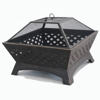 Large square steel outdoor garden firepit