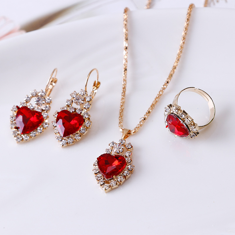 YDY002 Trade assurance heart-shaped crystal pendant clavicle necklace earrings ring three-piece wedding bride set lady jewelry