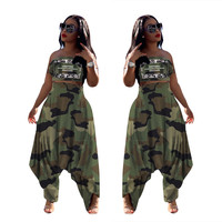 FM-LS6309 Wholesale womens clothing chest wrap camouflage harem pants 2 piece set