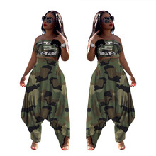 FM-LS6309 Groothandel womens kleding borst wrap camouflage <span class=keywords><strong>harembroek</strong></span> 2 delige set