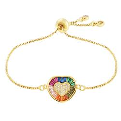 Best Selling Rainbow Color Square Zirconia Heart B