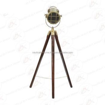 Brown Antique Photo Studio Spotlight w/Stand - Nautical Floor Lamp w/Stand - Tabletop Lamp by Nautical Art Home - NAH21009