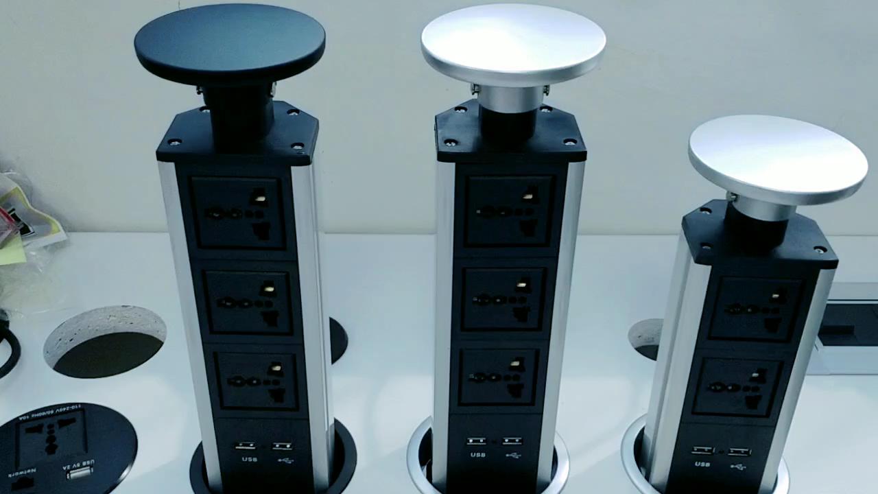 スライバー黒カスタマイズユニバーサル電源電気プルアップポップアップタワー電源コンセント 3/2 ソケット 2 usbキッチンデスクトップ