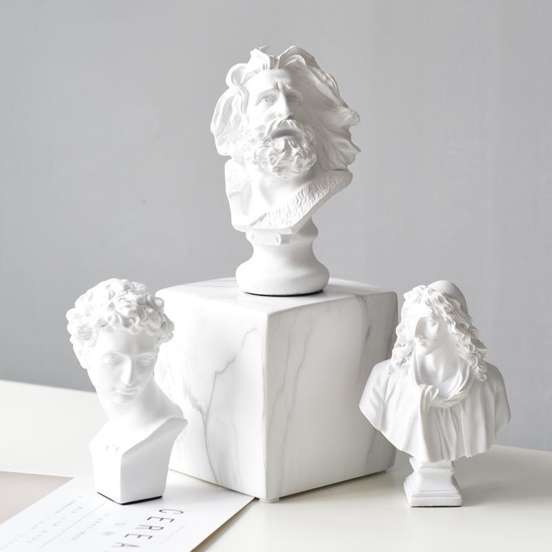 Yükseklik 6 inç alçı döküm Mini kafa Moliere, farklı reçine döküm boyama, beyaz ev dekor