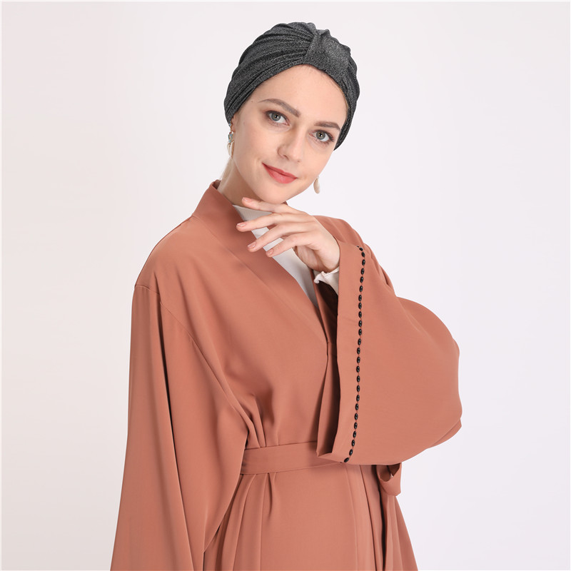 Wholesale beads abaya dubai kaftan kimono jilbab women muslim long party dress