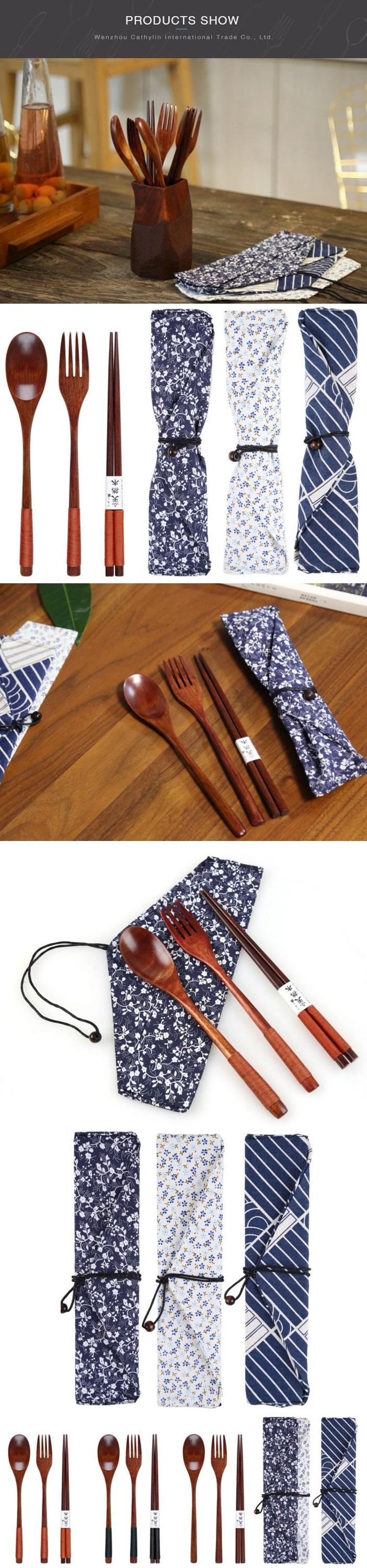 Korean japanese portable reusable bamboo wooden travel fork spoons and chopsticks gift wood set with pouch bag