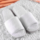 Terry Towelling Bath Slipper Slipper Terry Bath Slipper Can Embroidery Logo Open Toe Terry Towelling Bath Custom Disposable Hotel Slipper