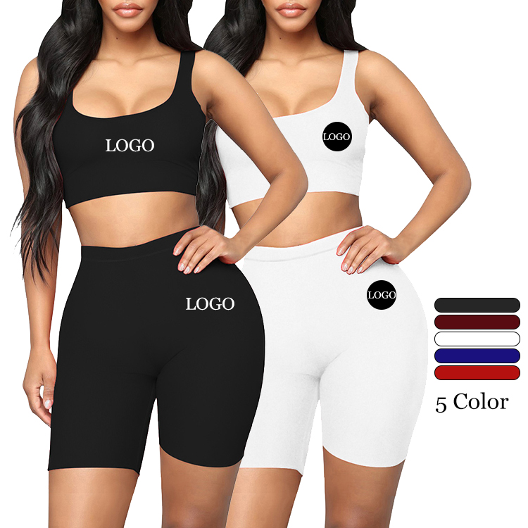 2020 Summer Custom Logo 5 Plain Color Elasticity Sleeveless Tops And Shorts Two Piece Set Women Clothing