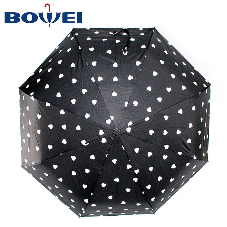2020 Folding Promotional Custom UV Protection Black Polka Dot 3 Fold Umbrella with Logo Printing