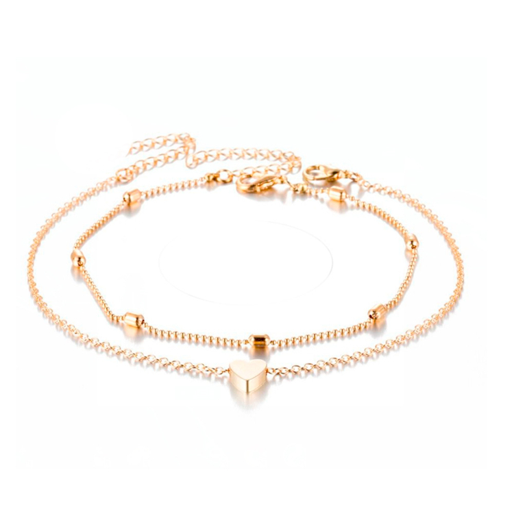 2020 Fancy Ladies Girls Double Layer Adjustable Heart Anklet For Cute Girls