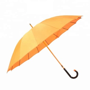 High Class Windproof Golden Bright Colored Umbrella 16 Ribs