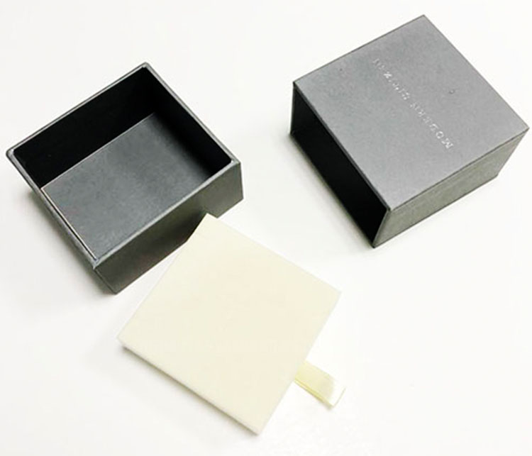 Silver foil logo gray special paper pack invisible cardboard jewelry box with drawer customized jewelry box
