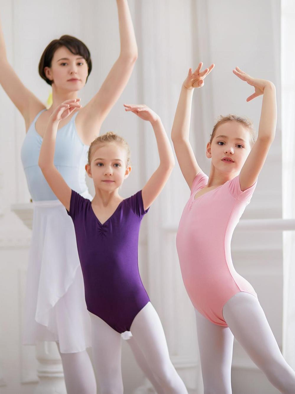 Yüksek kaliteli kızlar dans bale mayoları kısa kollu jimnastik tankı mayoları